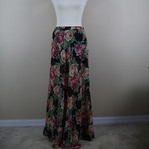 Forever 21 Maxi Skirt Floral Sheer Slit Medium